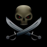 Pirate skull with sabers Royalty Free Stock Image
