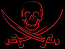Pirate skull and sabres. Illustration of pirate skull and sabres background Stock Images