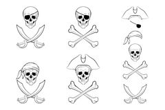 Pirate Skull set. Vector design templates. Royalty Free Stock Photos