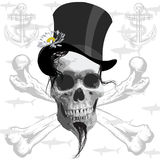 The pirate skull - and sharks Stock Photography