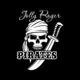 Pirate skull with sword. Jolly Roger flag design Royalty Free Stock Images