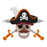 Pirate Skull with Sword Royalty Free Stock Photo
