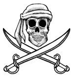 Pirate skull and swords Stock Images