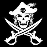 Pirate skull and swords. Stock Image