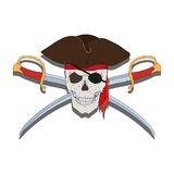 Pirate skull with swords Royalty Free Stock Image