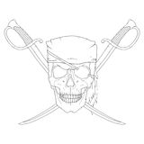 Pirate skull with swords Royalty Free Stock Photos