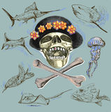 Pirate skull and underwater life - hand drawn vector Royalty Free Stock Photo