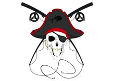 Free Pirate Skull With Crossed Fishing Poles Pre-Colored Stock Images - 142903614