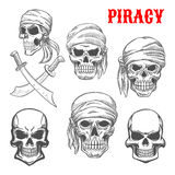Pirate skulls and crossbones sketch icons Royalty Free Stock Image