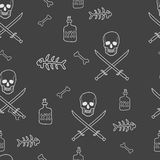Pirate Skulls with Crossed Swords Seamless Pattern Royalty Free Stock Photo