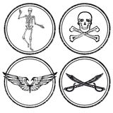 Pirate Skulls and Swords Symbol Icons Stock Photo