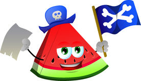 Pirate slice of watermelon with blank paper and pirate flag Royalty Free Stock Images
