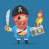 Pirate smiles holding parrot sword and suitcase with treasure. Funny character stock image