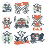 Pirate spirit logo emblems vector poster on white Royalty Free Stock Photography