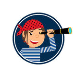 Pirate with spyglass icon in circle Royalty Free Stock Image