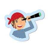 Pirate with spyglass  sticker Stock Photography