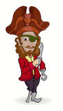 Pirate standing and holding sword Stock Images