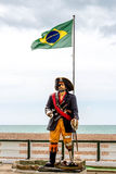 Pirate statue on the beach Stock Images