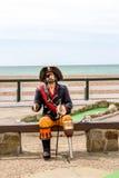Pirate statue on the beach. In Brighton stock photos