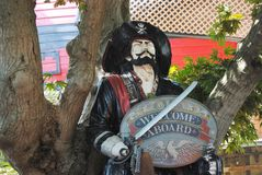 Pirate. A pirate statue welcoming visitors aboard the pirate ship Royalty Free Stock Images