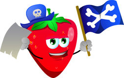 Pirate strawberry with blank paper and pirate flag Royalty Free Stock Image