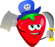 Pirate strawberry with blank paper and sword Royalty Free Stock Photography