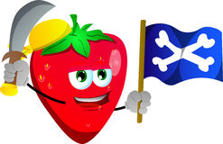 Pirate strawberry with sword and pirate flag Stock Photography