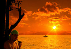The pirate and sunset Stock Photography