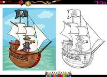 Pirate sur livre de coloriage de bande dessinée de bateau Image libre de droits