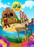 Pirate sur une île avec le trésor illustration libre de droits