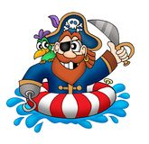 Pirate in swimming ring. Color illustration Stock Photo