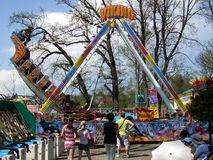 Large swing boat in Rabkoland amusement park in Rabka. Royalty Free Stock Photography
