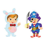 Pirate with sword and a boy in the Bunny suit Royalty Free Stock Photo