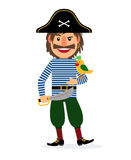 Pirate with sword and parrot Stock Image