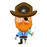 Pirate with sword. Pirate was standing holding a drawn sword Royalty Free Stock Photo