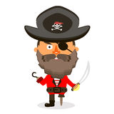 Pirate with sword. Pirate was standing holding a drawn sword Royalty Free Stock Photography