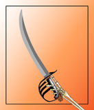 Pirate Sword Wielded By Skeleton Hand. Drawing of a skeleton hand holding aloft a black, silver and brass pirate sword on an orange background Royalty Free Stock Photo