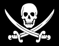 Pirate symbol. Jolly Roger skull and crossed swords symbol Stock Illustration