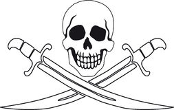 Pirate symbol Jolly Roger. Jolly Roger Pirate sign on white background with white backgrounds on the inside contour royalty free illustration