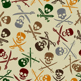Pirate Symbols Seamless Pattern. Pirate Skulls with Crossed Swords Seamless Pattern Royalty Free Stock Image