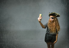 Pirate take a selfie Stock Image