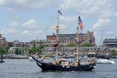 Pirate tall ship Formidable returns from cruise Stock Image