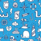 Pirate tattoo seamless vector pattern Royalty Free Stock Image
