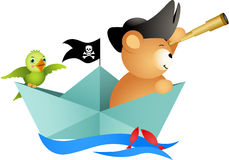 Pirate teddy bear on boat with bird Royalty Free Stock Image