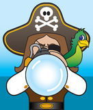 Pirate with Telescope. Pirate with parrot on shoulder looking through telescope Royalty Free Stock Photos