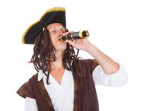 Pirate With Telescope Stock Photo