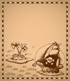Pirate theme drawing on parchment 1 Stock Images