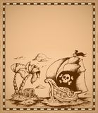 Pirate theme drawing on parchment 2 Royalty Free Stock Photos