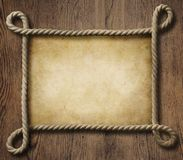Pirate theme nautical rope frame with old paper Stock Photography