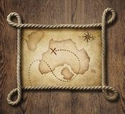 Pirate theme nautical rope frame with old treasure. Pirate theme nautical rope frame with old map Royalty Free Stock Images